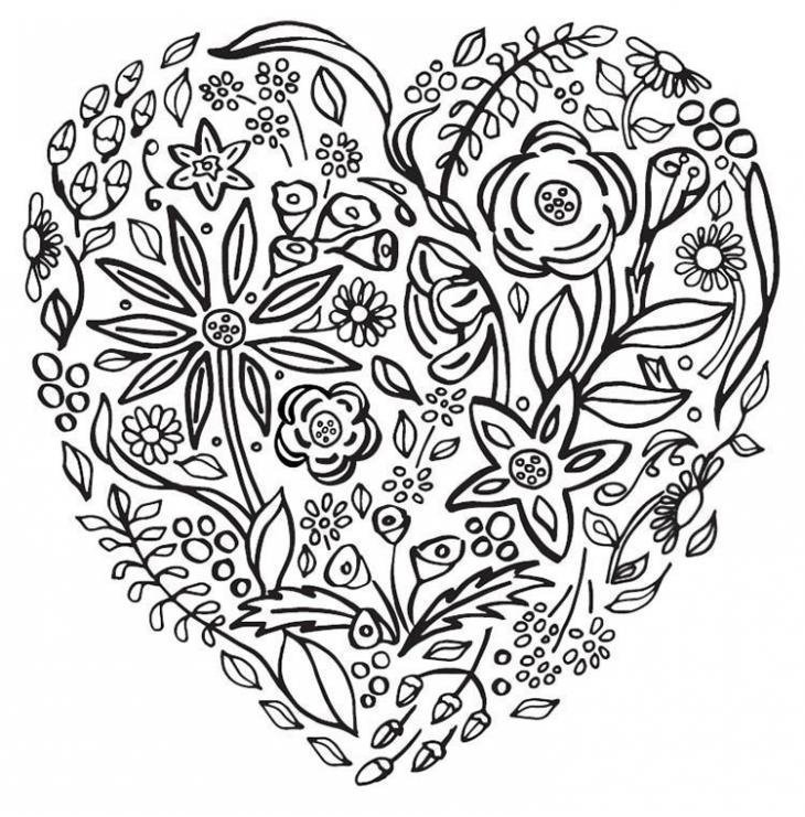 Floral Heart Coloring Sheet