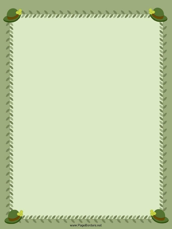 Green Hats St Patrick's Day Page Border Template