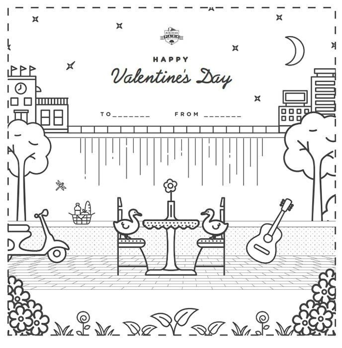 Hapy Valentines Day Coloring Sheet
