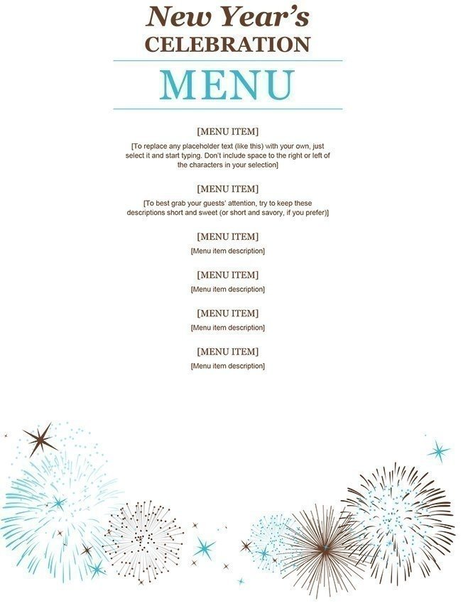 New Year's Celebration Menu Template