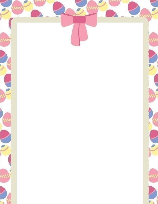 Easter Eggs And Bow Page Border Template