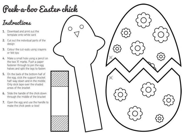 Peek-a-boo Easter Chick Template