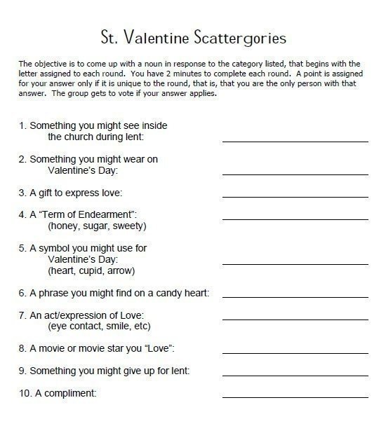 St. Valentine Scattergories Activity Sheet