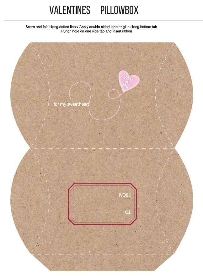 Valentines Day Pillowbox Craft Template